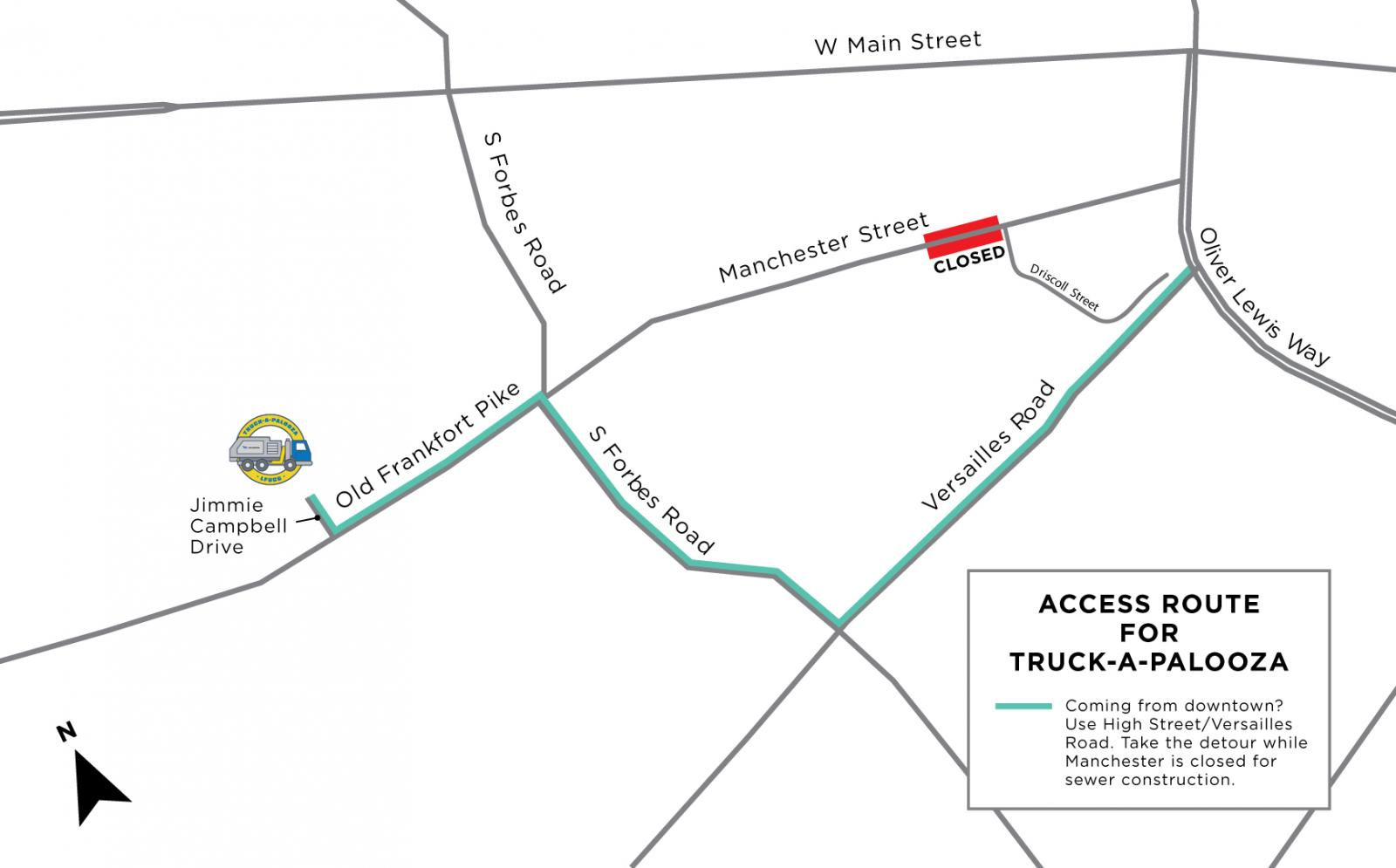 detour map for Manchester Street closure