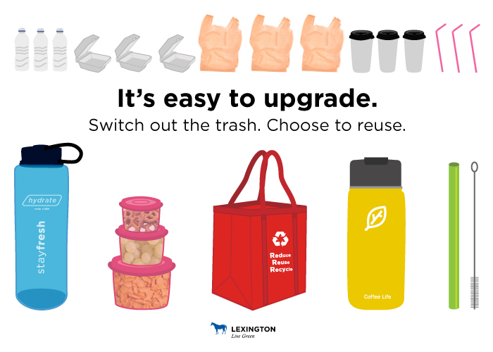 "Top row has plastic water bottles, styrofoam takeout containers, plastic bags, paper coffee cups and plastic straws. Bottom row has reusable water bottle, Tupperware, reusable bag, reusable coffee mug and metal straw with cleaner. Text says, ""It's easy to upgrade. Switch out the trash. Choose to reuse."""