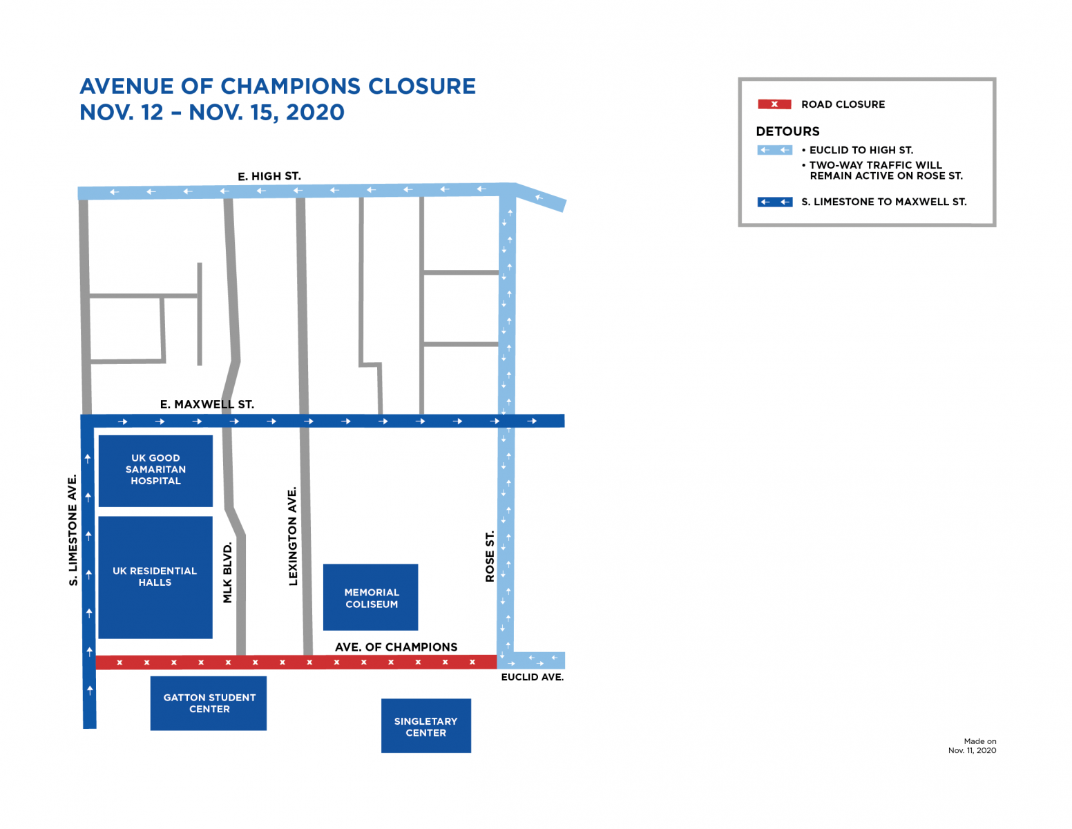 graphic showing Avenue of Champions closed from Nov 12 to 15