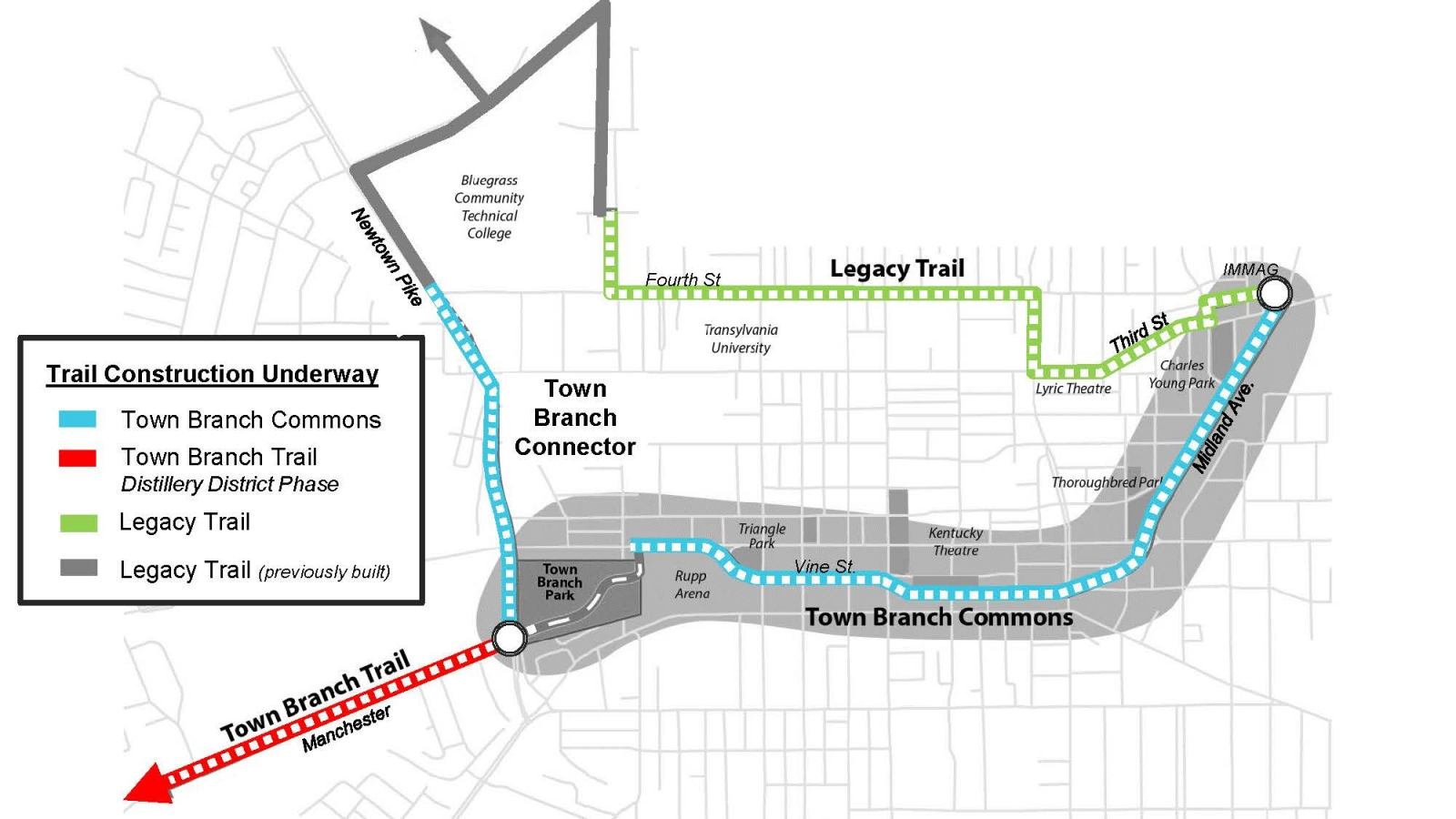 Downtown Trails Construction Map