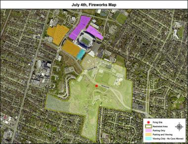 map of viewing areas Fourth of July