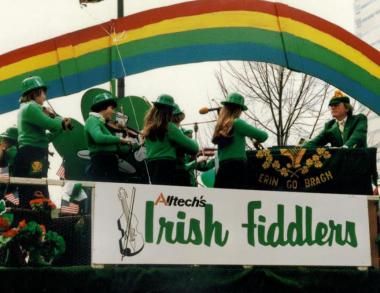 Dr. Pearse Lyons (far right) leads the Alltech Irish Fiddlers in the Lexington St. Patrick's Parade.