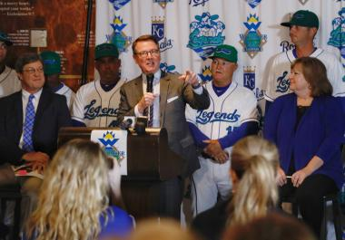 Officials from the city of Lexington, Lexington Legends and the Foundation for a Healthy Kentucky at news conference.