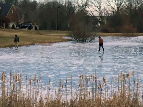 Frozen pond in Chilesburg subdivision.