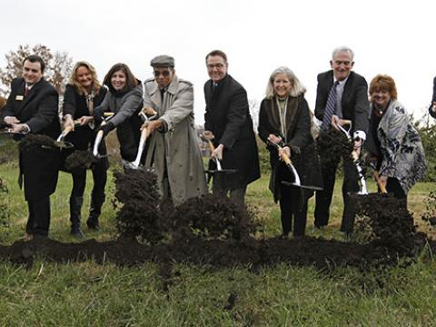 Breaking the ground for the new affordable living housing for seniors.