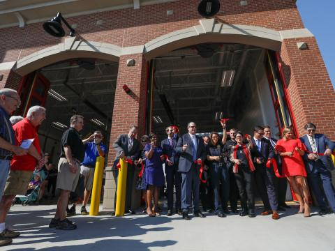 City officials cut the ribbon to official open Lexington's newest fire station.