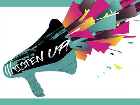 Bullhorn graphic that reads Listen Up!