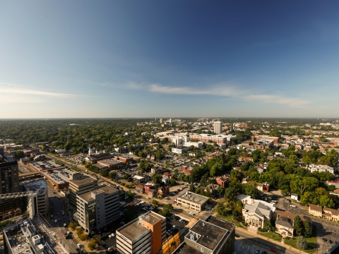 aerial view of downtown Lexington, Ky